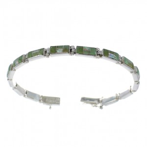 Sterling Silver Turquoise And Opal Inlay Link Bracelet EX54226
