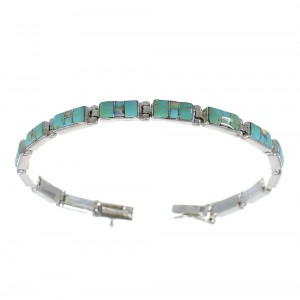 Southwestern Turquoise And Opal Silver Link Bracelet EX54228