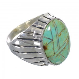 Turquoise Sterling Silver Southwestern Jewelry Ring Size 12-1/2 AX55483