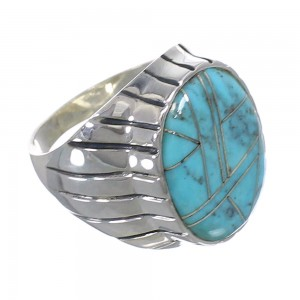 Silver Turquoise Inlay Jewelry Southwest Ring Size 10-3/4 AX55497