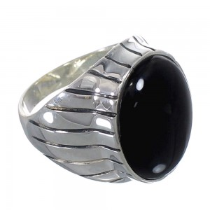 Southwest Sterling Silver Jet Ring Size 9-1/4 AX55563