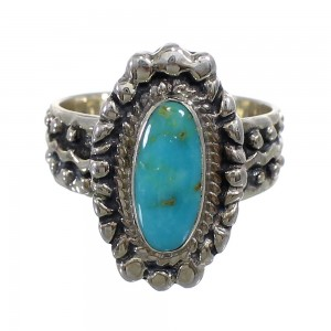 Southwest Turquoise Sterling Silver Ring Size 6-1/4 EX56368