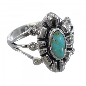 Southwest Turquoise Silver Jewelry Ring Size 7-1/4 AX61472