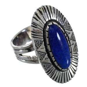 Genuine Sterling Silver And Lapis Southwest Ring Size 7-1/4 VX57039