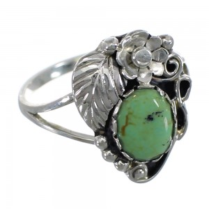 Authentic Sterling Silver And Turquoise Flower Jewelry Ring Size 8-1/2 VX57149