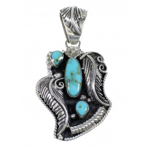 Turquoise And Silver Feather Pendant RX54444