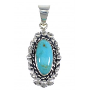 Sterling Silver And Turquoise Southwest Pendant RX54486