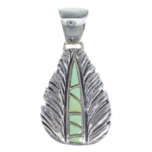 Silver And Turquoise Feather Pendant Jewelry RX54507
