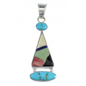 Southwest Multicolor And Sterling Silver Slide Pendant RX54594