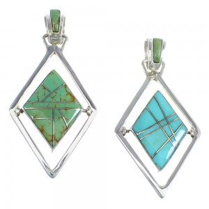 Southwest Turquoise And Silver Reversible Pendant RX54629