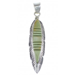 Sterling Silver And Turquoise Inlay Feather Pendant VX55101
