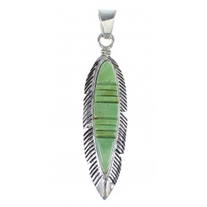 Sterling Silver And Turquoise Feather Pendant VX55102