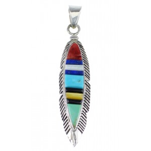 Multicolor Inlay And Authentic Sterling Silver Feather Pendant VX55119