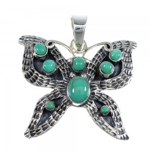 Authentic Sterling Silver And Turquoise Butterfly Southwestern Pendant VX55126