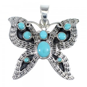 Southwest Genuine Sterling Silver And Turquoise Butterfly Pendant VX55130