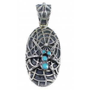Southwest Genuine Sterling Silver And Turquoise Spider Pendant VX55136