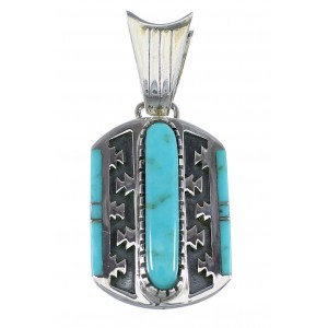 Turquoise Inlay Sterling Silver Pendant Southwest Jewelry VX55255