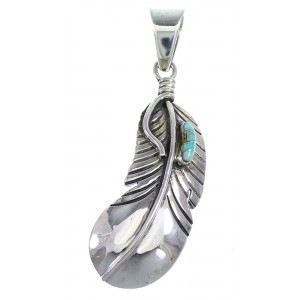 Feather Turquoise Inlay And Sterling Silver Southwestern Pendant WX58328