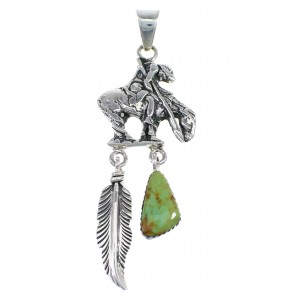Southwest End Of The Trail Feather Turquoise Sterling Silver Pendant WX58339