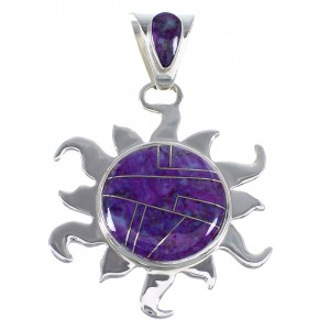 Southwestern Sterling Silver And Magenta Turquoise Sun Pendant VX55218