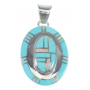 Turquoise And Opal Genuine Sterling Silver Pendant Southwestern Jewelry VX54833