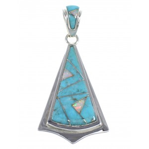 Turquoise And Opal Inlay Authentic Sterling Silver Pendant VX55558