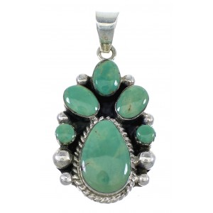 Authentic Sterling Silver And Turquoise Pendant Jewelry VX55718