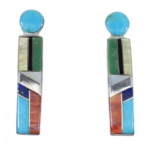 Multicolor Inlay Sterling Silver Post Earrings RX56126