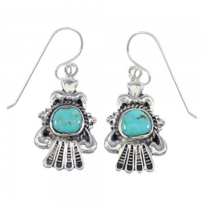 Genuine Sterling Silver And Turquoise Hook Dangle Earrings RX55789