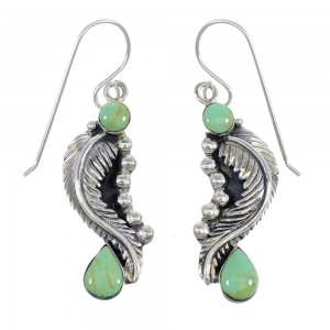 Southwest Turquoise Sterling Silver Feather Hook Earrings RX55815