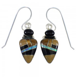Multicolor Inlay Sterling Silver Hook Earrings RX55842