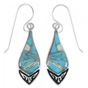Silver Turquoise And Opal Inlay Hook Dangle Earrings VX55873