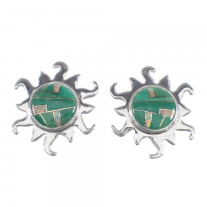 Southwest Turquoise And Opal Inlay Genuine Sterling Silver Sun Post Earrings VX56033