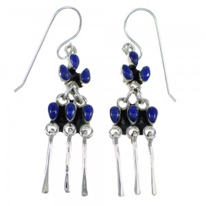 Sterling Silver And Lapis Hook Dangle Earrings Jewelry RX56418