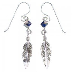 Sterling Silver Lapis And Opal Feather Hook Dangle Earrings RX56466