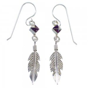 Sterling Silver Magenta Turquoise Opal Inlay Feather Hook Dangle Earrings RX56469