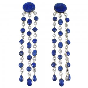 Genuine Sterling Silver And Lapis Post Dangle Earrings RX56224