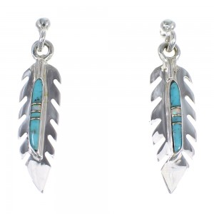 Opal Turquoise Sterling Silver Feather Post Dangle Earrings RX56261