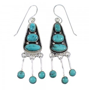Turquoise And Sterling Silver Hook Dangle Earrings RX56646