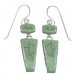 Southwest Silver Turquoise Inlay Hook Dangle Earrings RX56653