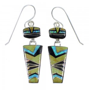 Sterling Silver Multicolor Inlay Hook Dangle Earrings RX56670