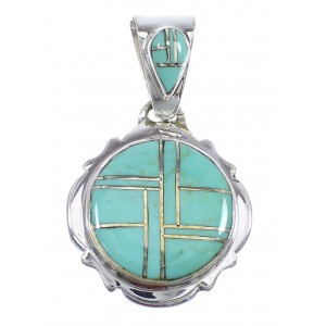Turquoise And Sterling Silver Southwest Pendant WX58492