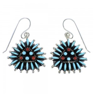 Turquoise Coral Needlepoint Sterling Silver Hook Dangle Earrings RX56860