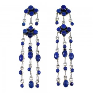 Sterling Silver Southwestern Lapis Post Dangle Earrings RX56516