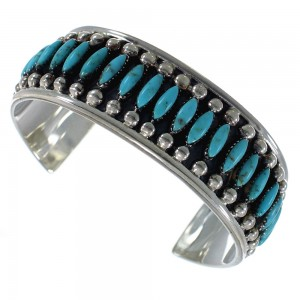 Sterling Silver Turquoise Needlepoint Cuff Bracelet Jewelry VX59586