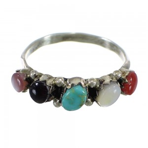 American Indian Multicolor Zuni Silver Ring Size 6-1/4 EX56880
