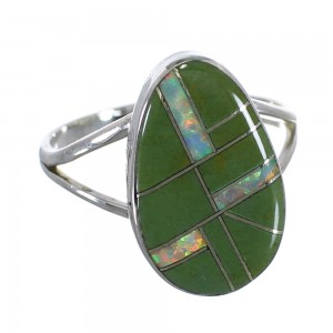 Genuine Sterling Silver Turquoise Opal Inlay Southwest Ring Size 8-1/4 RX57604