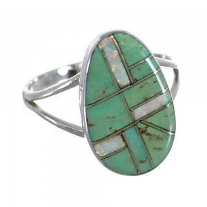 Southwest Opal And Turquoise Silver Ring Size 8-1/4 RX57608
