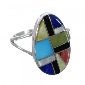 Southwest Authentic Sterling Silver And Multicolor Jewelry Ring Size 5-3/4 VX58599