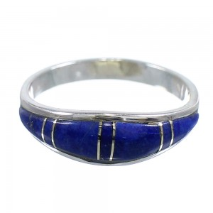Authentic Sterling Silver Lapis Inlay Ring Size 8-1/4 RX58064